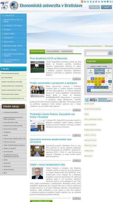 Neresponzívny web Ekonomickej univerzity v Bratislave