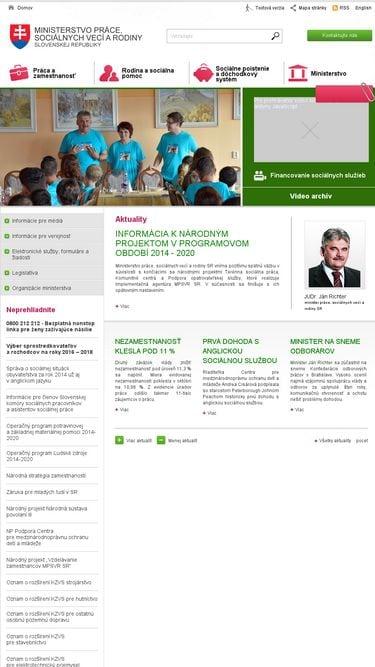 Neresponzívny web Ministerstva práce, sociálnych vecí a rodiny