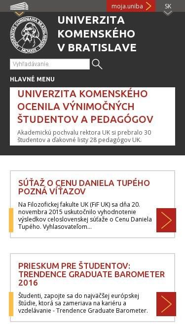 Responzívna webová stránky Univerzity Komenského v Bratislave