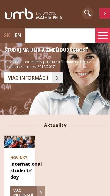 Responzívny web Univerzita Mateja Bela v Banskej Bystrici