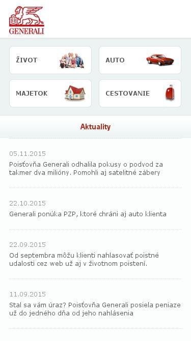 Mobilná responzivita poisťovne Generali