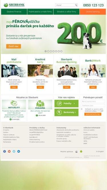 Neresponzívny web banky Sberbank
