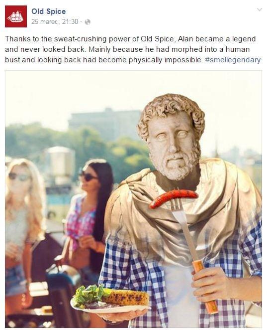 Ukážka príspevku Old Spice na Facebooku