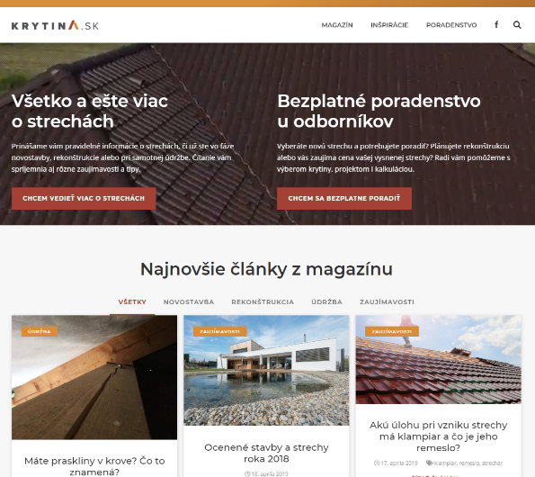 Krytina.sk Ukážka homepage ContentFruiter