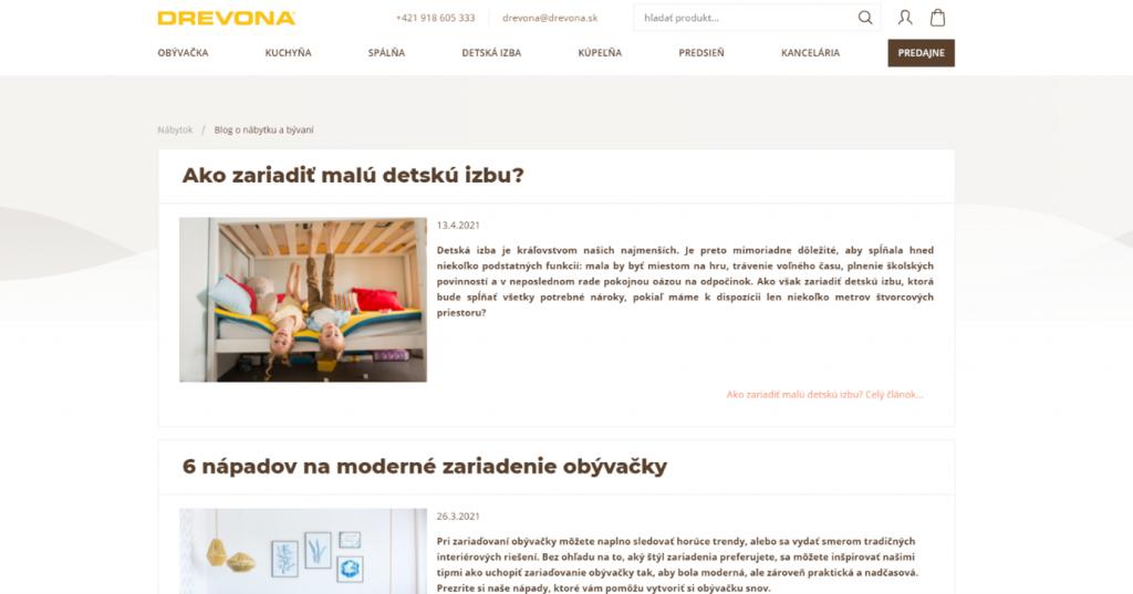 Blog spoločnosti Drevona, na ktorom chýba kategorizácia
