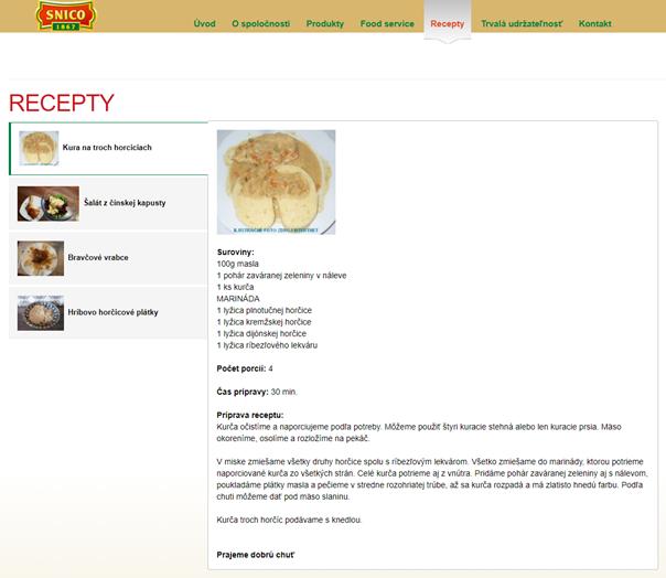 Neformátovaný obsah v sekcii s receptami spoločnosti Snico